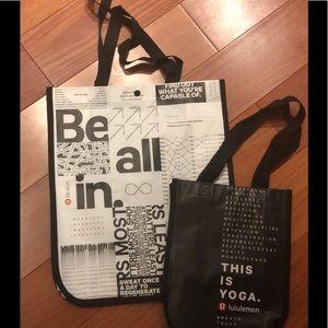 Lululemon TWO reusable shopping gift bags